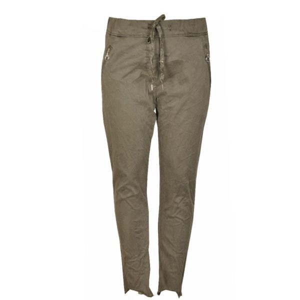 Raw-hem zip pocket pants