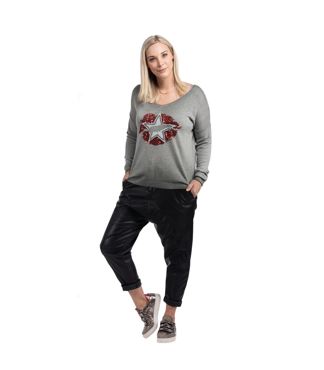 Sequin lips star print knit top