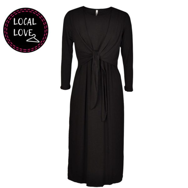 Cocoon front tie long sleeve dress