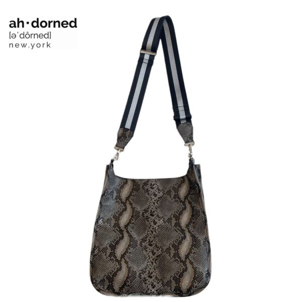 Ah-dorned snake printed messenger bag