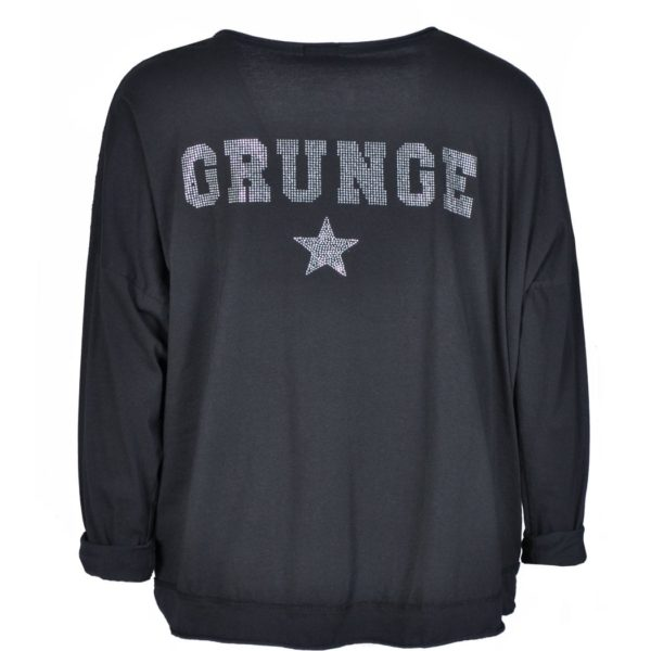 Lace front grunge backdiamante top
