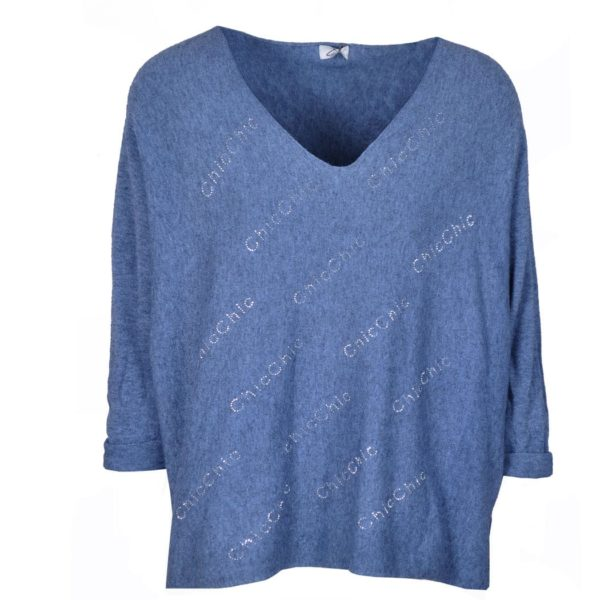 Chic diamante word knit top