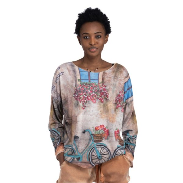 Bicycle painting long sleeve top