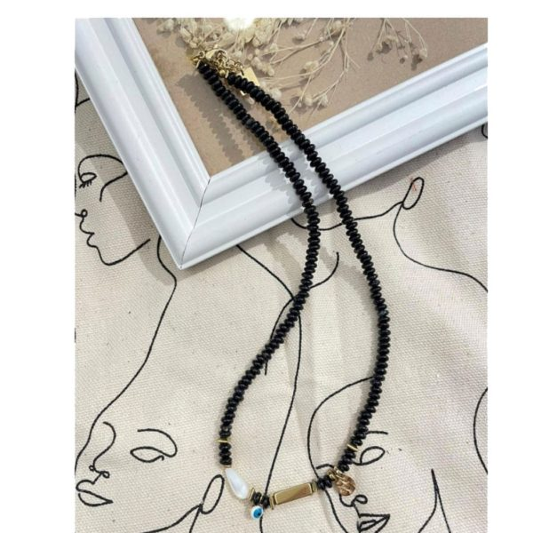 Beaded evil eye choker necklace