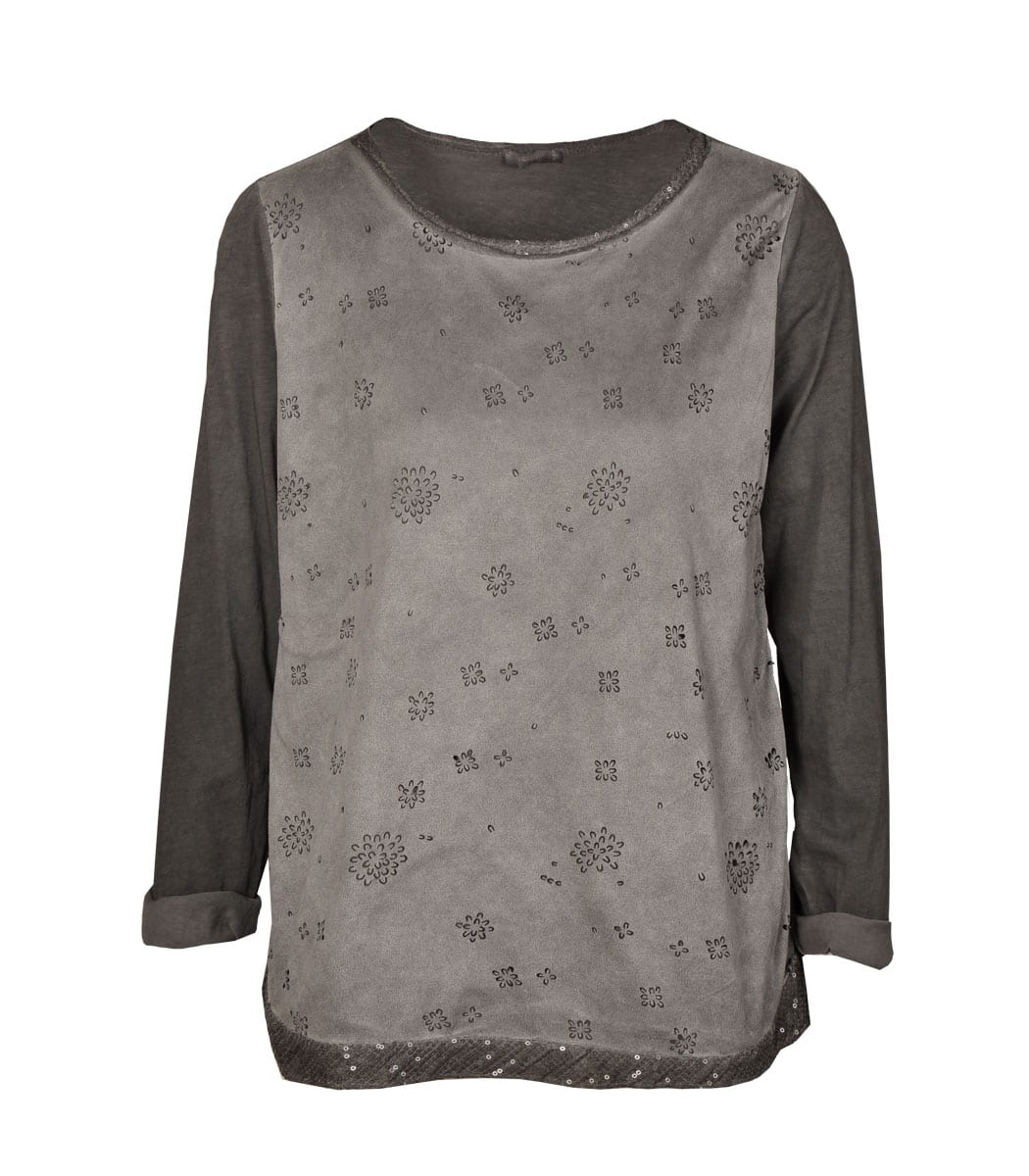 Suede lazer cut-out top