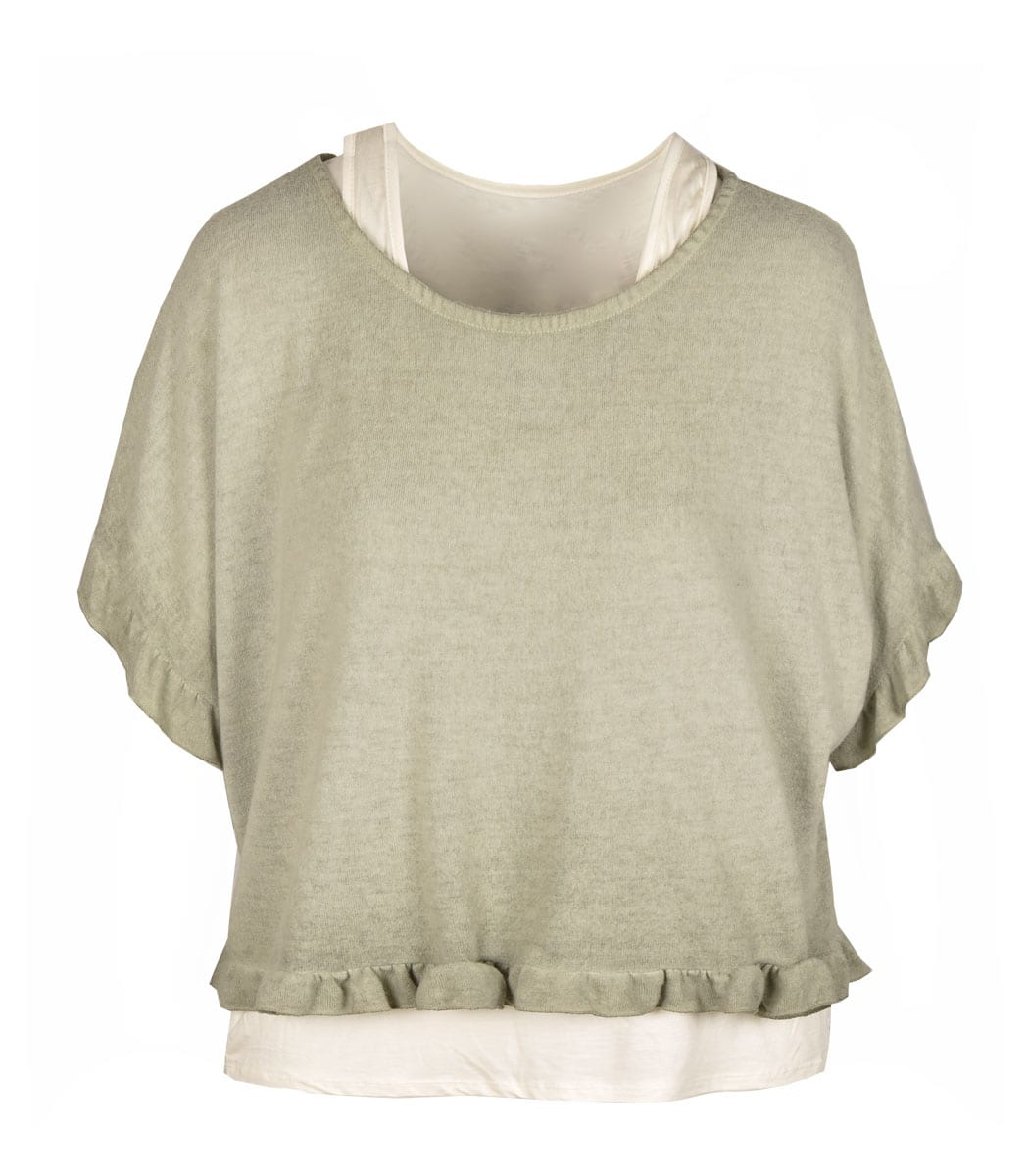 Double layer frill boxy top