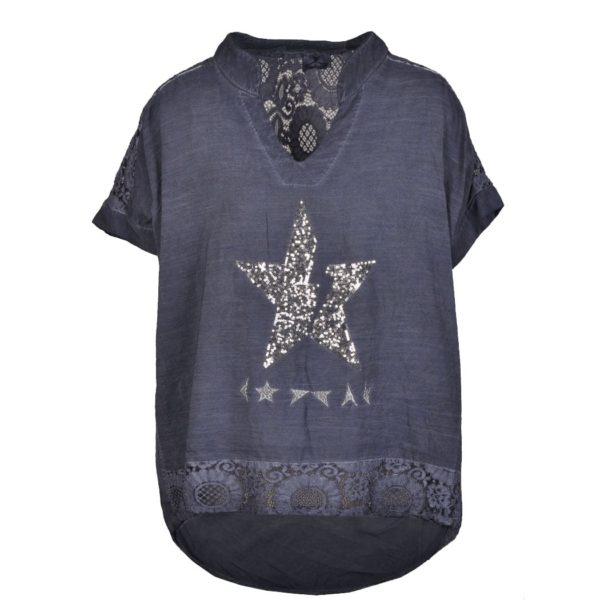 Lace back sequin star top