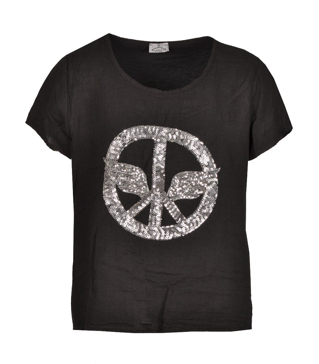 Sequin peace wings top