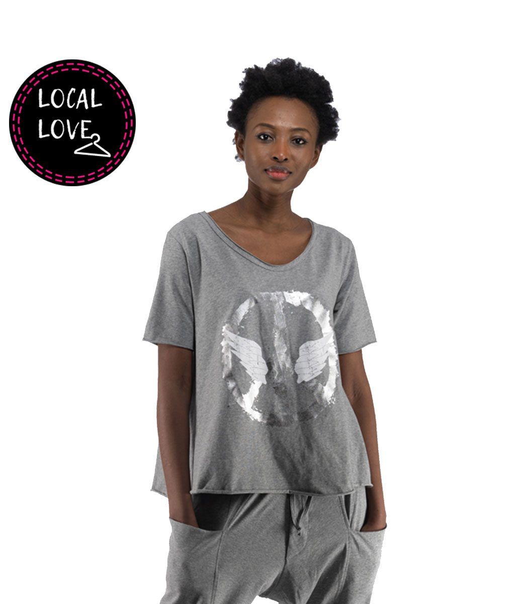 Cocoon peace wing printed flare tunic