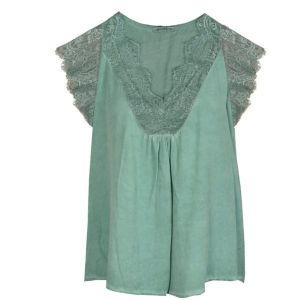 Lace front satin cami
