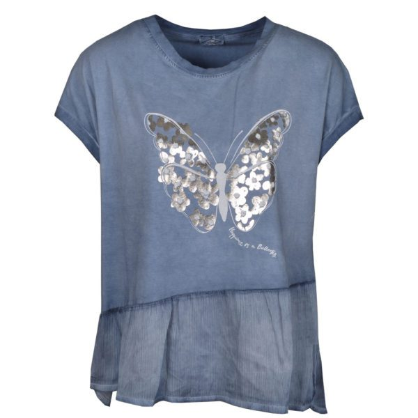 2-Textured butterfly print top