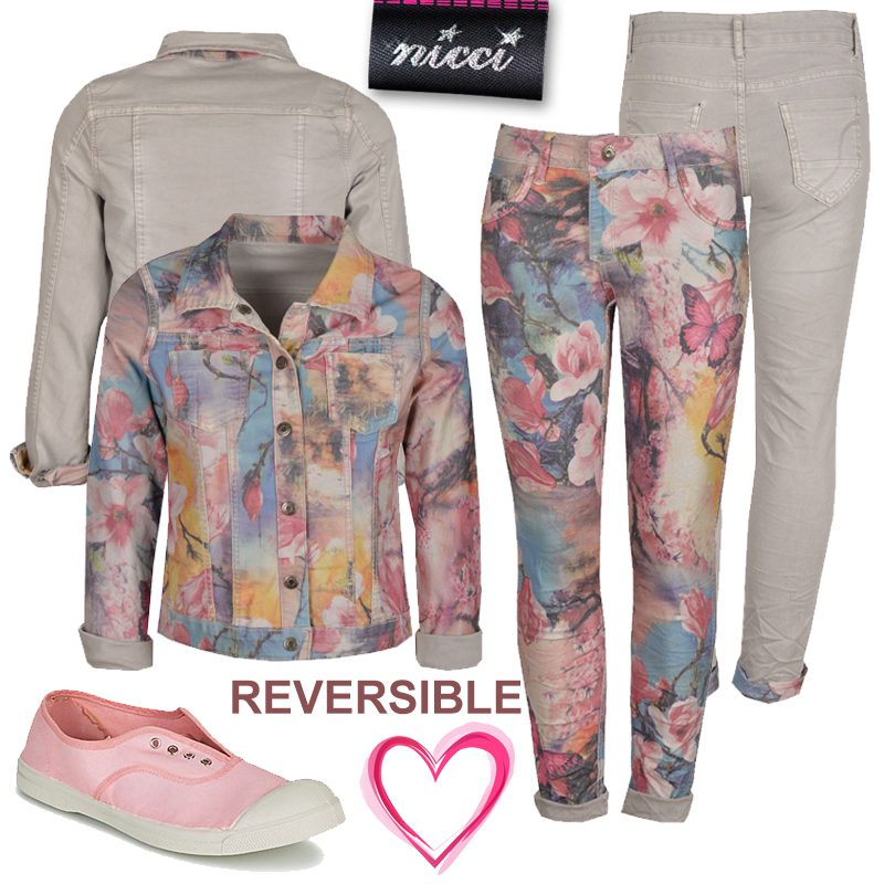 Butterfly giant floral reversible jacket