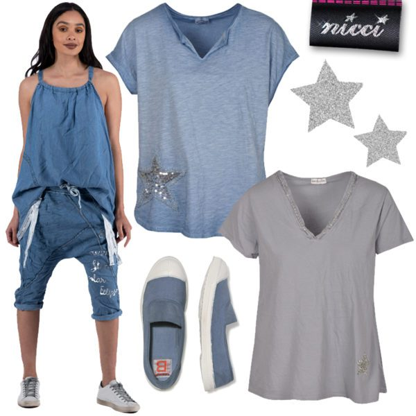 Sequin star oversized dyed top