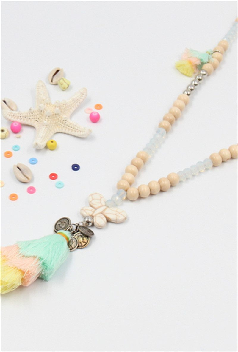 Tassel coin butterfly necklace