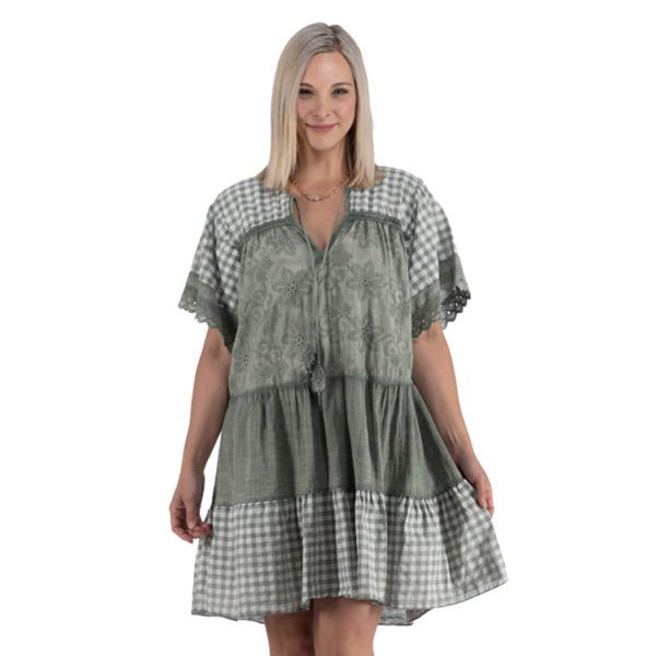 Gingham patch dress